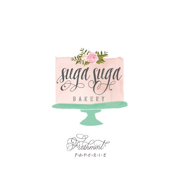 customized logo - cursive logo -  logo design  - calligraphy logo - bakery logo - cake logo - watercolor - freshmint paperie