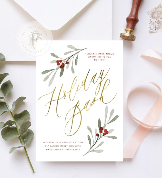 Holiday Bash invitation | Holiday Party invitation | Christmas Party invitation | New Years invitation | Mistletoe invitation