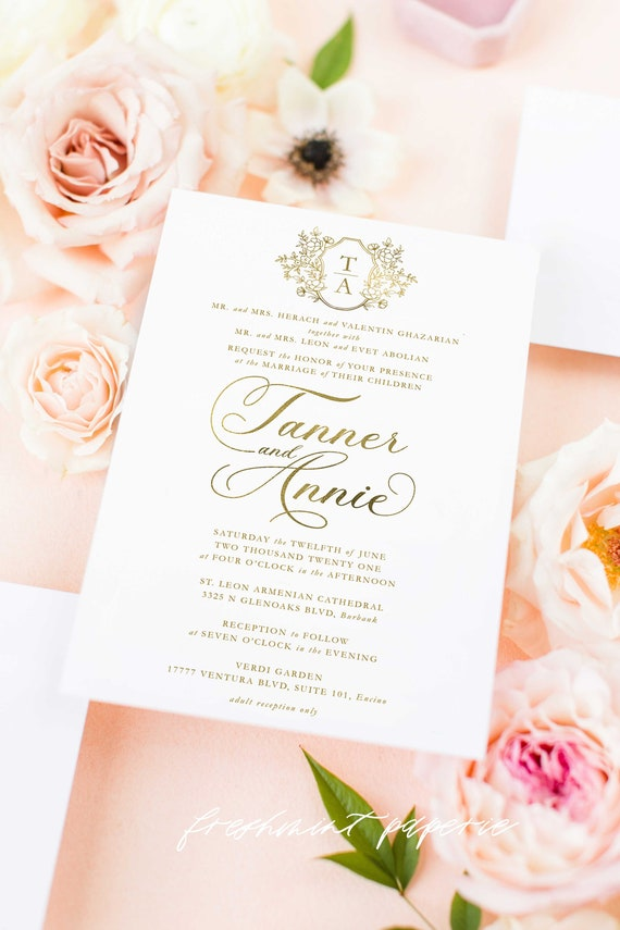 Classic Wedding Invitation | Wedding invitation | Calligraphy Wedding Invitation | White Gold Foil invitation | Gold Foil Wedding invitation