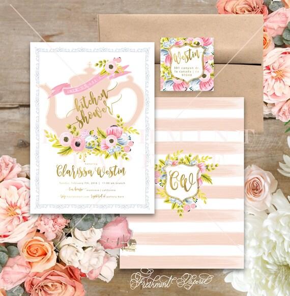 Kitchen shower invitation - high tea bridal shower invitation - kitchen shower invitation - high tea invitation - teapot invitation