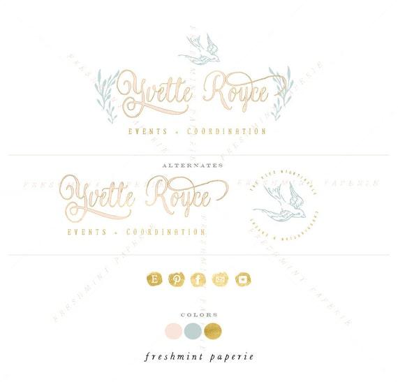 style 3104 - watercolor logo - aqua & gold logo - calligraphy logo - watercolor logo - bird logo - freshmint paperie