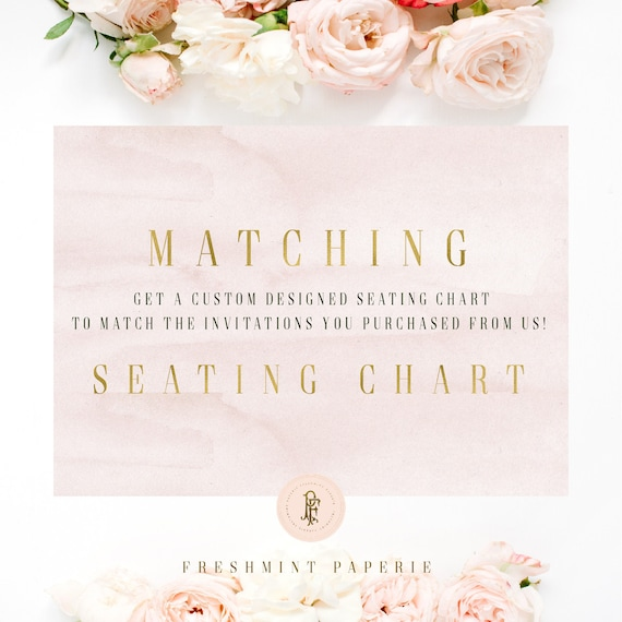 Seating Chart to match invitation design | Seating Chart | Guest Chart | Wedding Seating Chart