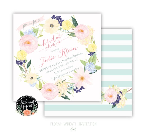 Printable invitations - bridal shower invitation - floral wreath invitation - calligraphy - bridal invitation - freshmint paperie