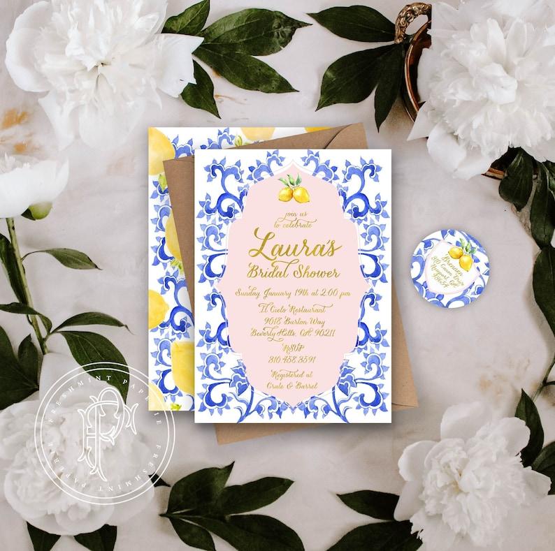 Lemons invitation Lemons invite Bridal Shower invitation freshmint paperie Porcelain lemon invitation Lemon invitation