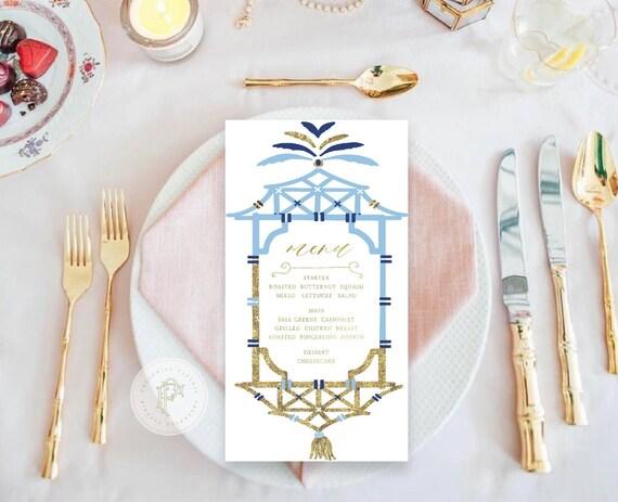 Pagoda menu cards - Chinoiserie menu cards - calligraphy Menu  - pretty menu - Freshmint Paperie
