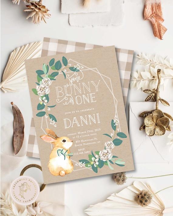 Bunny invitation | Bunny Birthday Invitation | Rabbit invitation | Easter Invitation | Easter Bunny | Some bunny is One