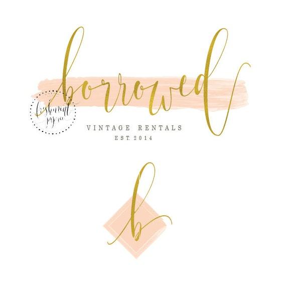Custom pre-made logo - logo design - calligraphy logo - logo - peach watercolor logo - badge logo - freshmint paperie