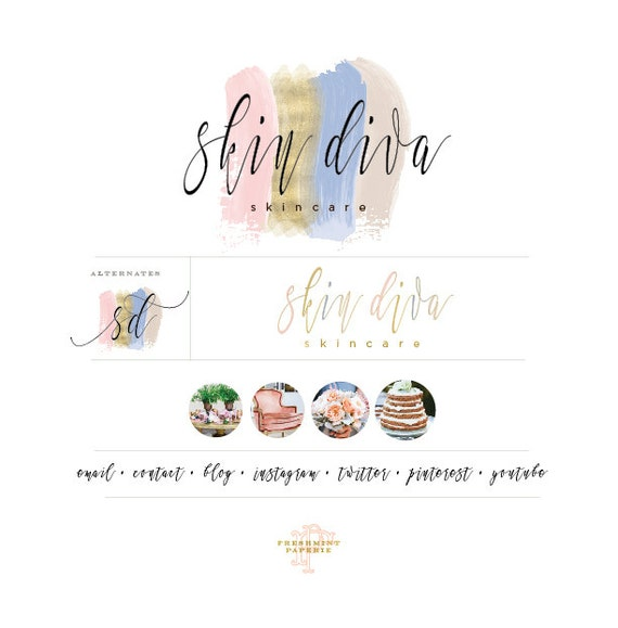Custom pre-made logo - watercolor logo design -  watercolor logo - calligraphy style logo - freshmint paperie