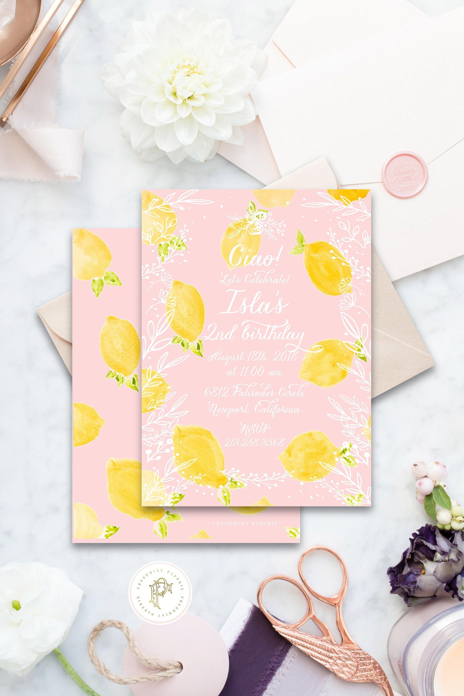 Lemon Birthday invitation | Floral Lemon Birthday Invitation ...