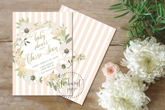Printable invitations - bridal shower invitation - neutral invitation - peach floral invitation - flower invitation - freshmint paperie