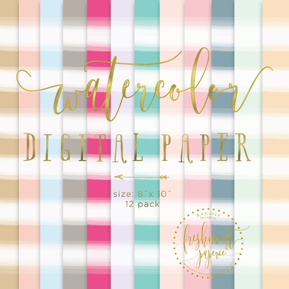watercolor digital paper  - watercolor paper - digital paper pack -watercolor digital paper pack  - freshmint paperie