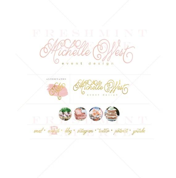 Custom logo - watercolor logo - calligraphy logo - business logo - business card - freshmint paperie