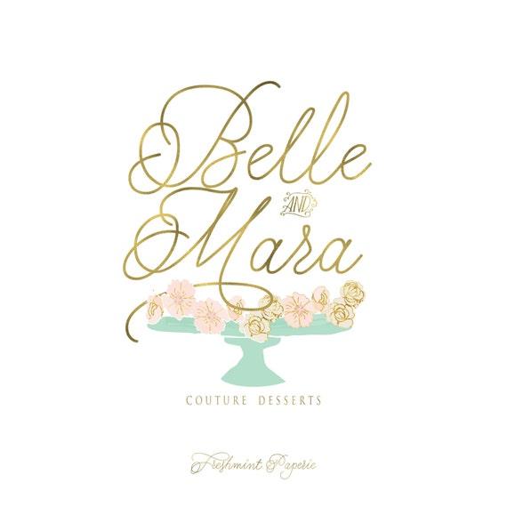 Custom pre-made logo -  logo design  - calligraphy logo - gold foil logo - bakery logo - mint flowers logo -  freshmint paperie