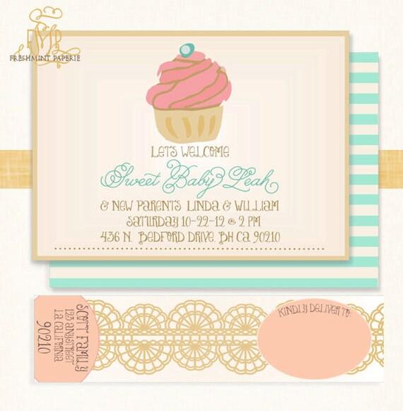 Cupcake Invitations Baby Shower Cupcake Invitation Cupcake Etsy