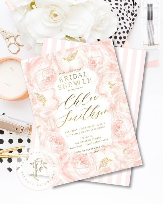 Peony invitation - Pink Peony invitation - Bridal Shower Invitation - Peonies Invitation - Peony invite - Pink Peony - Freshmint Paperie