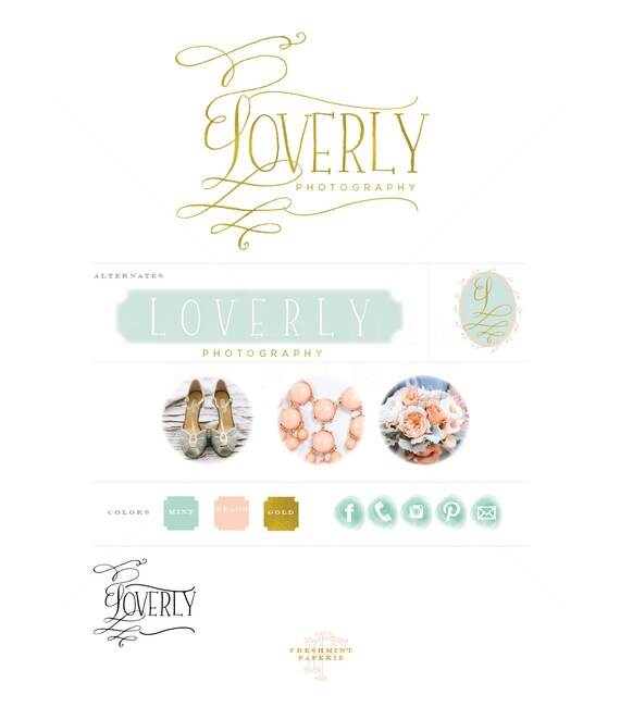 custom logo design -  mint & gold logo  - calligraphy monogram logo - pretty logo - business cards - freshmint paperie