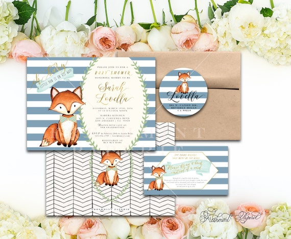 Woodland baby shower invitation -  woodland invitation - fox invitation - woodland fox invitation - freshmint paperie