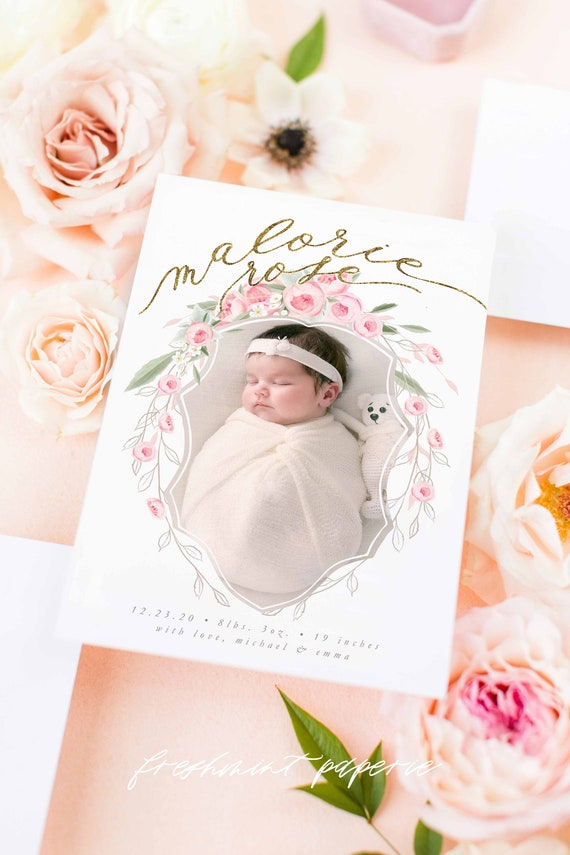 Pink Birth Announcement, Pink Peony Announcement, Birth Announcement, Monogram Birth Announcement, Roses, Welcome Baby