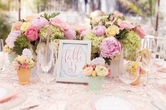 Shabby chic table numbers - table numbers - calligraphy table numbers - calligraphy table numbers - freshmint paperie