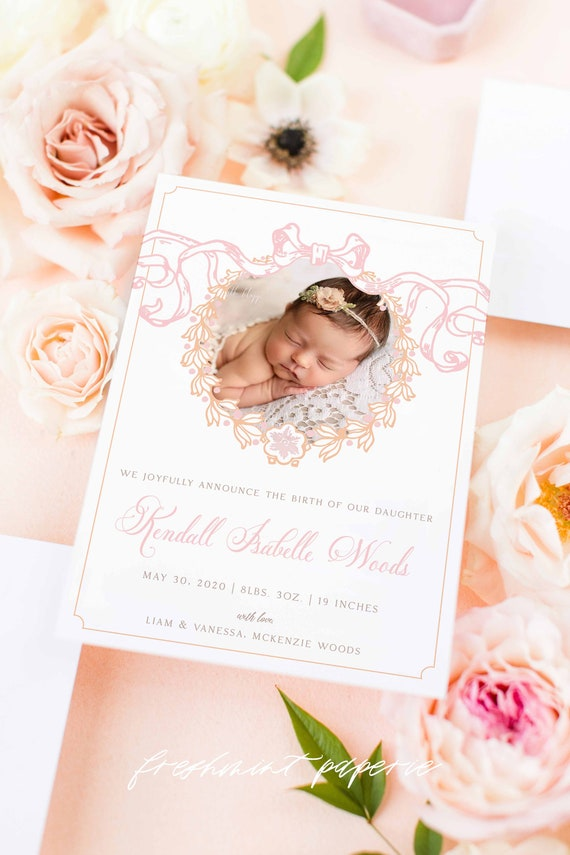 Watercolor Birth Announcement, Girl Birth Announcement, Birth Announcement, Crest Birth Announcement, Monogram Announcement, Welcome Baby