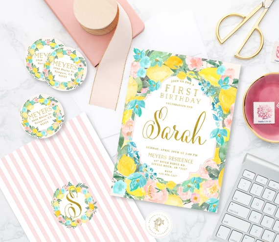 Lemon Floral Invitation - First birthday invitation - Citrus birthday invitation - watercolor Lemon invitation - Lemon Birthday Invite