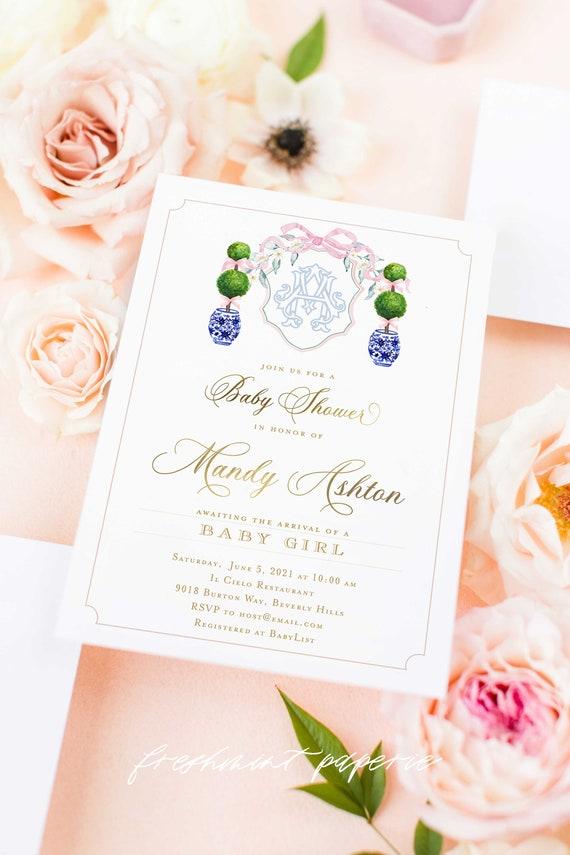 Chinoiserie invitation - Monogram invitation - Ginger Jar Invitation - Topiary Baby Shower invitation - Baby Shower Invitation