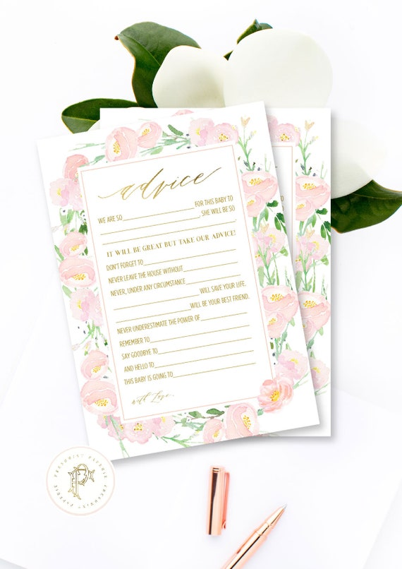 Advice card, Pink peony, Baby shower advice cards, floral advice cards, Bride, Mad Libs, Baby shower games, Baby mad libs, Baby advice