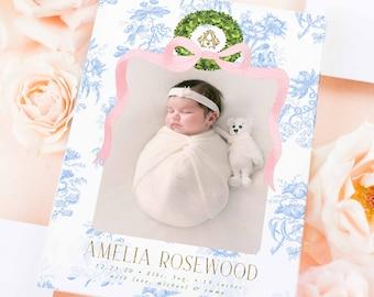 Watercolor Birth Announcement, Girl Birth Announcement, Birth Announcement, Chinoiserie Birth Announcement, Birth Announcement, Welcome Baby