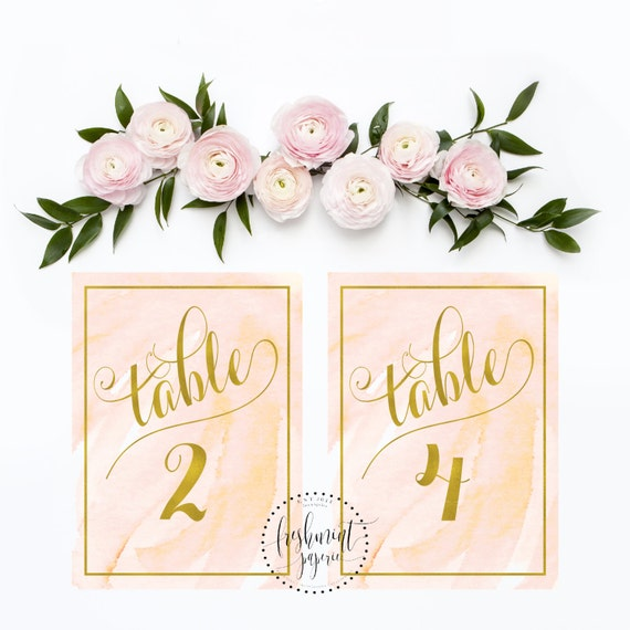 printable calligraphy table numbers - blush watercolor table numbers - calligraphy table numbers - gold calligraphy - freshmint paperie