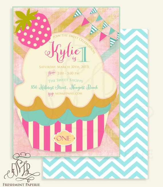 Little cupcake invitation - ice cream invitation - cupcake invitation - ice cream parlor -  Freshmint Paperie