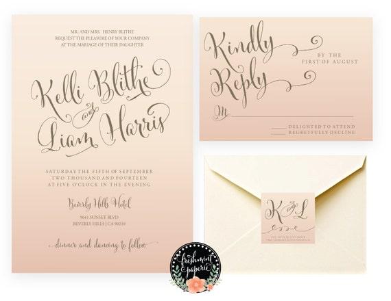 Ombre invitation - wedding shower invitation - ombre invitation - calligraphy - wedding invitation - freshmint paperie