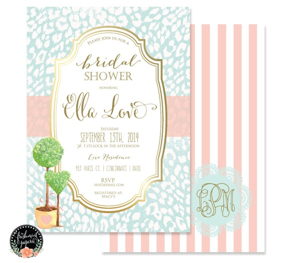 Printable invitations - bridal shower invitation - flower invitation - calligraphy - topiary invitation - freshmint paperie