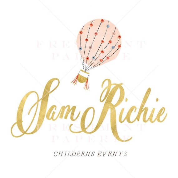 style 301 - watercolor gold logo - childrens event logo - calligraphy logo - hot air balloon logo - handwritten logo - freshmint paperie