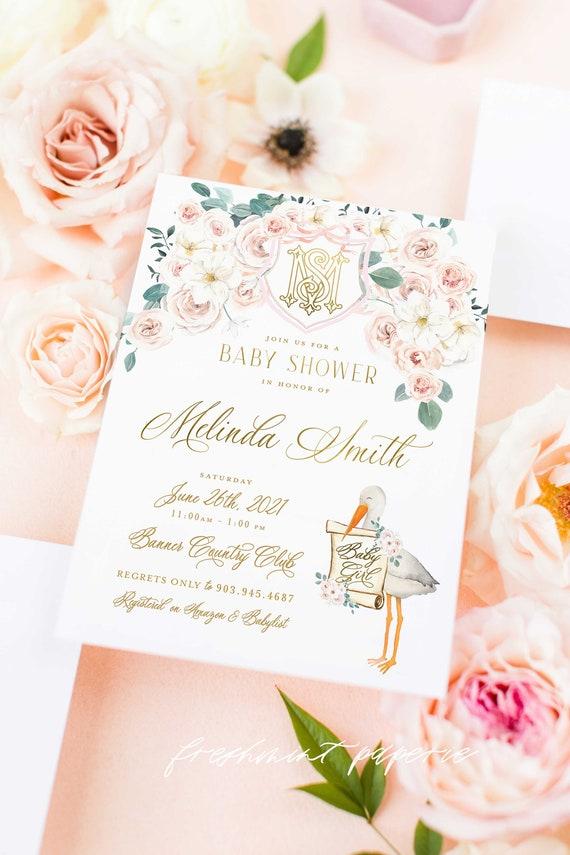 Watercolor Stork Invitations, Stork Invitation, Baby Shower Invitation, Baby Girl Shower, Pink Stork Baby shower, Monogram Stork Invite