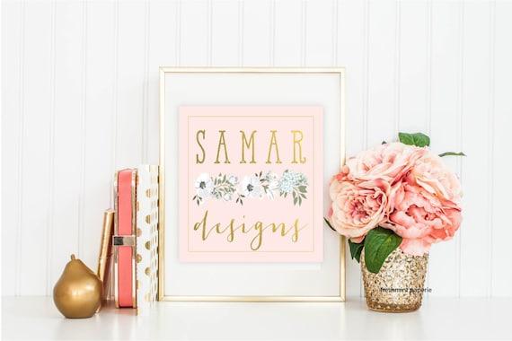 Custom logo - floral logo  - calligraphy logo - business logo - flower logo - freshmint paperie
