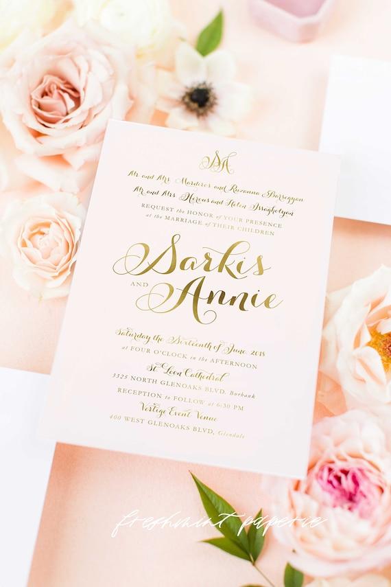 Classic Wedding Invitation | Wedding invitation | Calligraphy Wedding Invitation | Blush Pink invitation | Gold Foil Wedding invitation