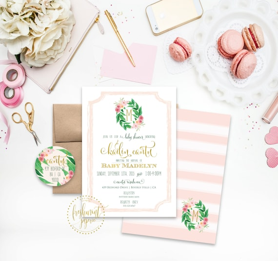 Printable invitations - floral leaf - bridal shower invitation - baby girl invitation - baby shower - watercolor - freshmint paperie