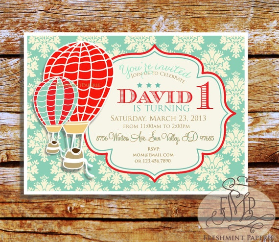 Printable invitations - hot air balloon invitation - vintage hot air balloon - Freshmint Paperie