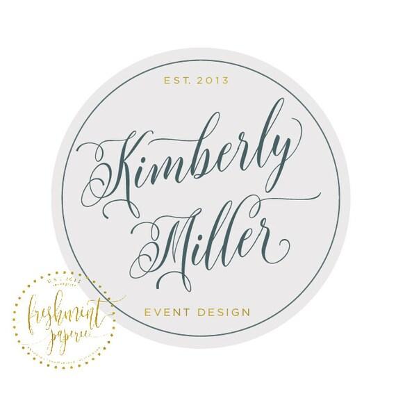 Custom pre-made logo - logo design - calligraphy logo - logo - gray logo - circle badge logo - freshmint paperie