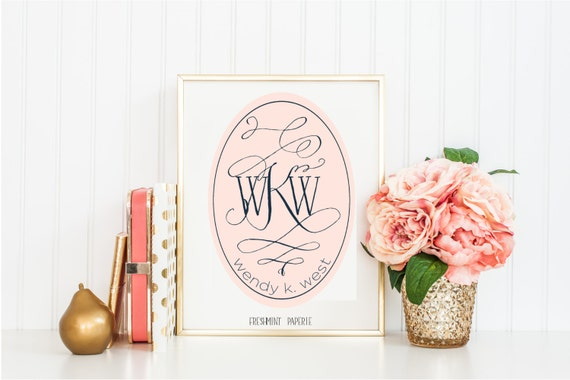 monogram logo design - blush logo - business logo - business card design - flourish logo - pretty logo - freshmint paperie