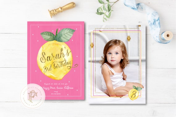 Lemon Birthday Invitation, Citrus birthday invitation, Lemon invitation,  Watercolor Lemon invitation, Lemon Birthday Invite, Picture