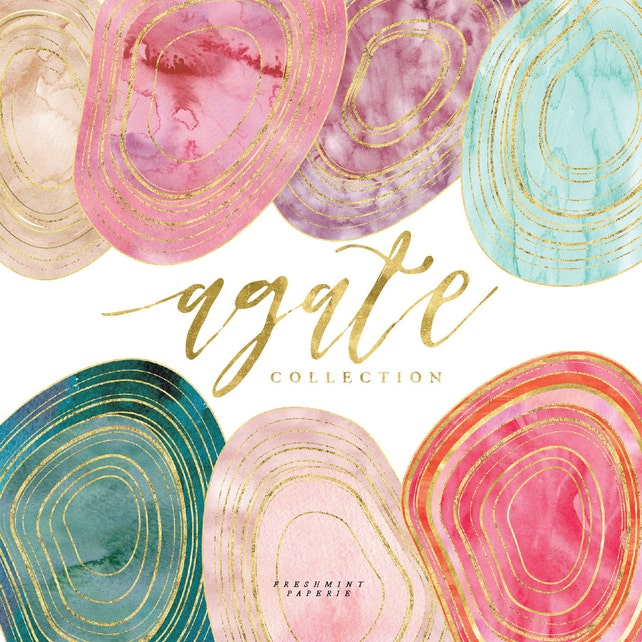 watercolor AGATE clipart - agate clipart - geode clipart - watercolor clipart - gemstone clipart - freshmint paperie
