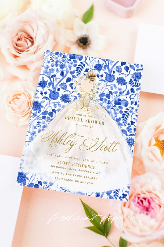 Bride invitation - bridal shower invitation - watercolor BRIDE invitation - chinoiserie - chinoiserie invitation - dress invitation