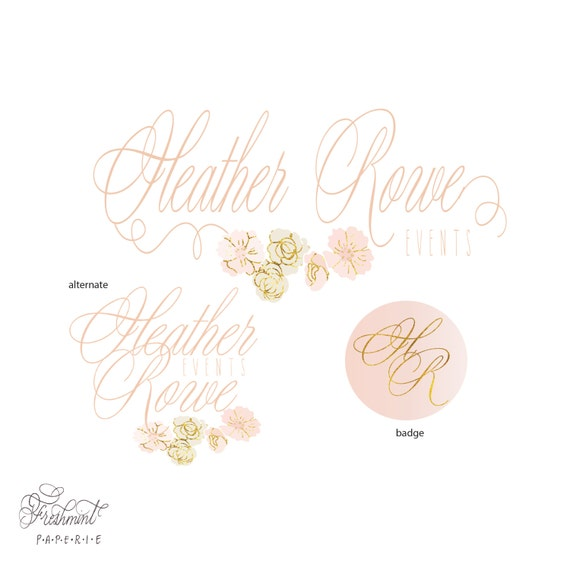customized logo - cursive logo -  logo design  - calligraphy logo - business logo - business card - watercolor - freshmint paperie