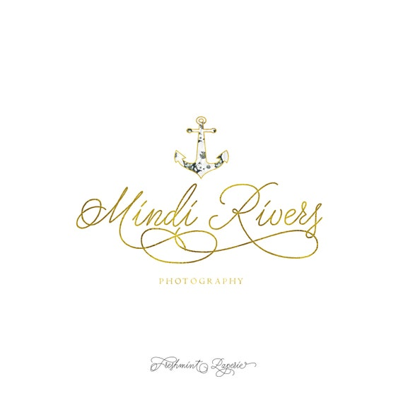 Custom pre-made logo -  logo design  - calligraphy logo - anchor logo - gold foil logo - photographer logo - nautical -  freshmint paperie