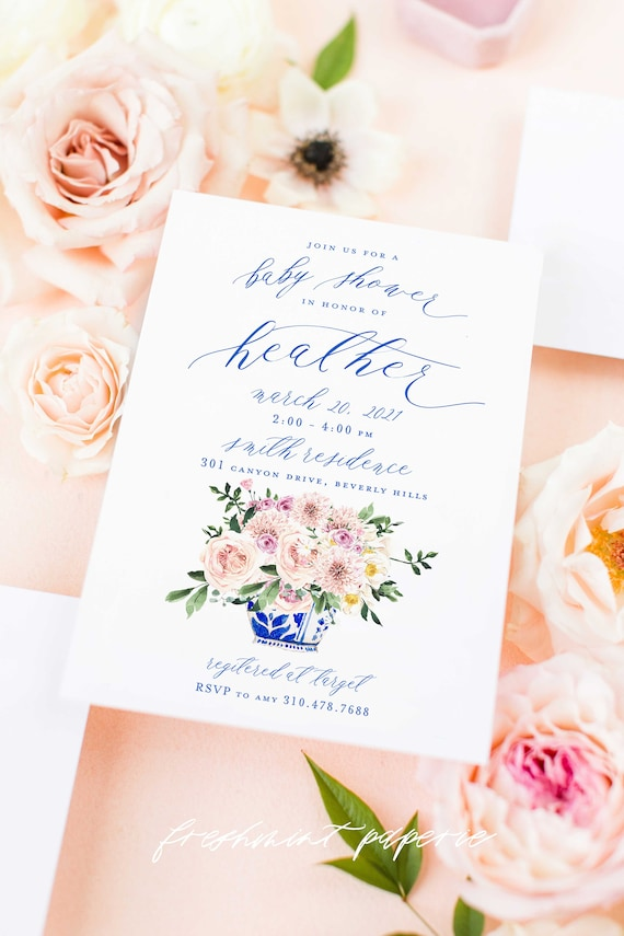 Pot of Flowers invitation - Floral invitation - Calligraphy invitation - Watercolor invitation - Mediterranean invite - Chinoiserie