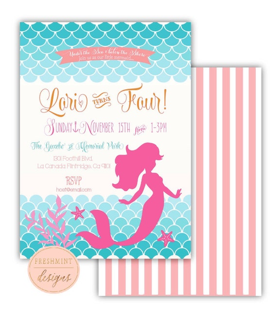 Little mermaid invitation - mermaid invitation - mermaid birthday invitation - calligraphy - birthday invitation - freshmint paperie
