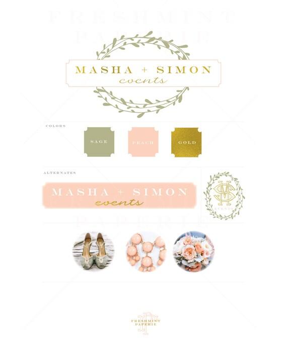 Custom pre-made logo - logo design - calligraphy logo - logo - laurel logo - gold foil logo -  freshmint paperie