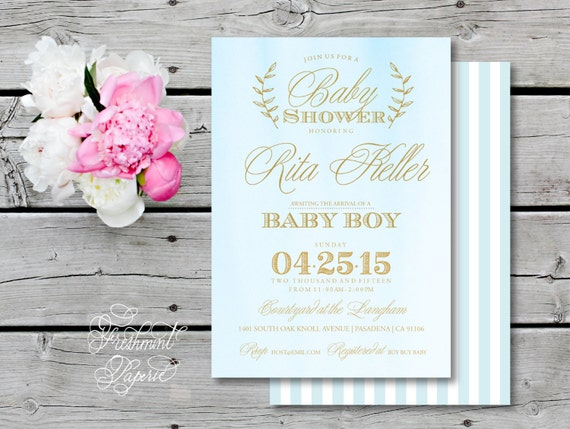 Printable invitations - baby shower invitation - blue watercolor invitation - calligraphy - boy baby shower - prince theme