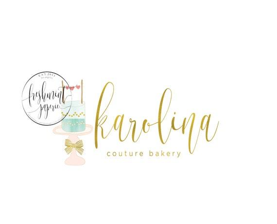 Custom pre-made logo - logo design - bakery logo - logo - cake logo - gold logo - watercolor logo - freshmint paperie